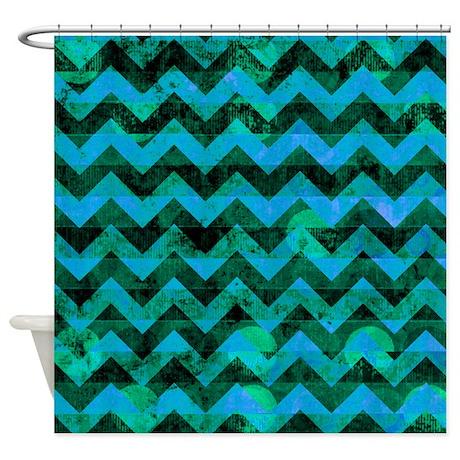 Blue green grunge chevron pattern shower curtain by - Green curtain patterns ...