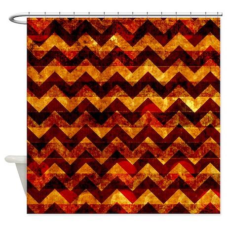 Orange and Brown Grunge Chevron Shower Curtain
