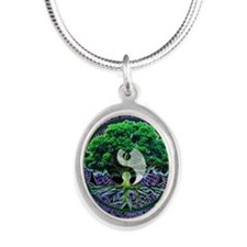 Tree of Life Balance Silver Oval Necklace
