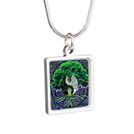 Tree of Life Balance Silver Square Necklace