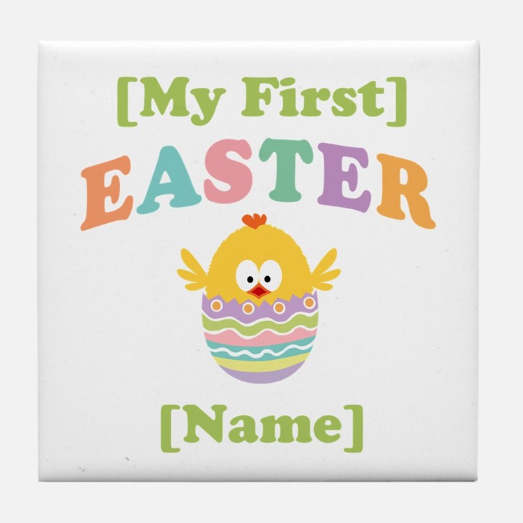 PERSONALIZE Baby's 1st Easter Tile Coaster