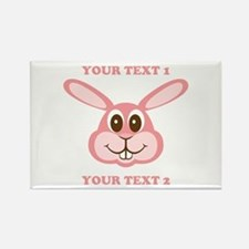 PERSONALIZE Pink Bunny Rectangle Magnet