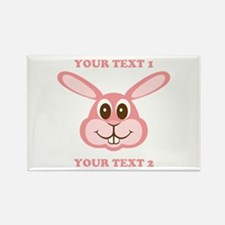 PERSONALIZE Pink Bunny Rectangle Magnet (100 pack)