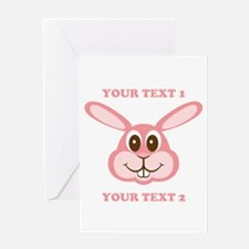 PERSONALIZE Pink Bunny Greeting Card