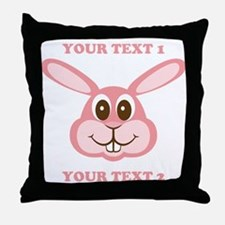 PERSONALIZE Pink Bunny Throw Pillow