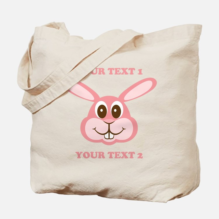 PERSONALIZE Pink Bunny Tote Bag