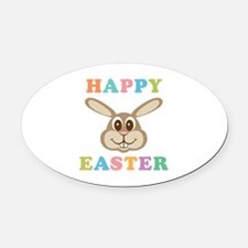 Happy Easter Bunny Oval Car Magnet