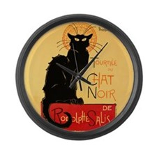 Famous black cat French Large Wall Clock