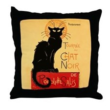 Famous black cat French Throw Pillow