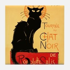 Famous black cat French Tile Coaster