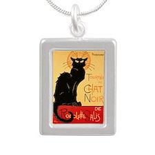 Famous black cat French Silver Portrait Necklace