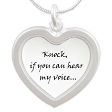 Knock if you can hear my voice Silver Heart Neckla