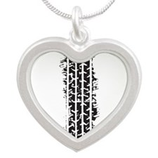 Tire Track Silver Heart Necklace