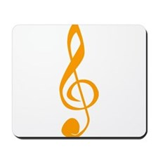 Orange Treble Clef Mousepad