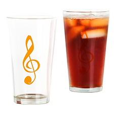 Orange Treble Clef Drinking Glass
