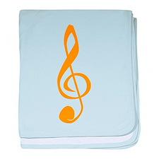 Orange Treble Clef baby blanket