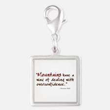 'Mountains' Silver Square Charm