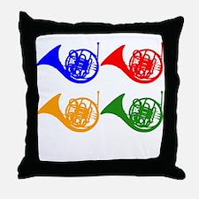 French Horn Pop Art Throw Pillow