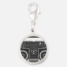 BoomBox Silver Round Charm