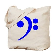 Blue Bass Clef Tote Bag