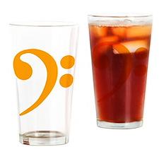 Orange Bass Clef Drinking Glass