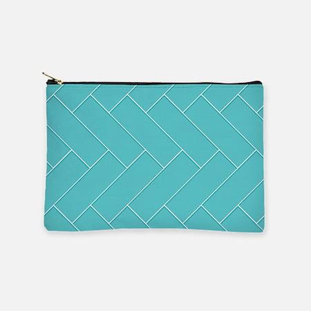 Turquoise Herringbone Makeup Bag