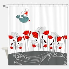 Cute Bird with Flowers Shower Curtain