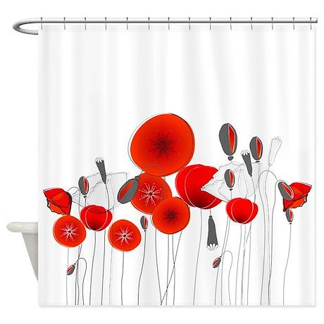 Elegant Red Flowers Shower Curtain