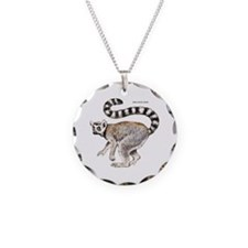 Ring-Tailed Lemur Necklace Circle Charm