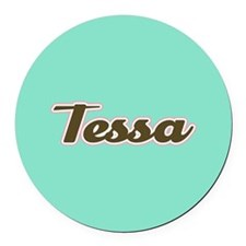 Tessa Aqua Round Car Magnet
