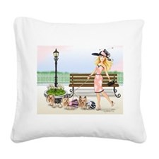 ByCatiaCho Yorkie Derby Square Canvas Pillow