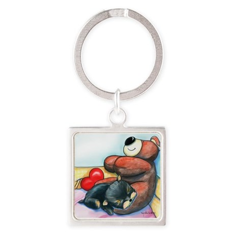 ByCatiaChoYorkie Friend Square Keychain
