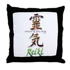 Reiki Healing hands chinese letters Throw Pillow