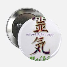 """Reiki Healing hands chinese letters 2.25"""" Button"""