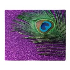 Glittery Purple Peacock Throw Blanket