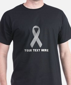 Gray Awareness Ribbon Customized T-Shirt