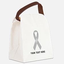 Gray Awareness Ribbon Customized Canvas Lunch Bag