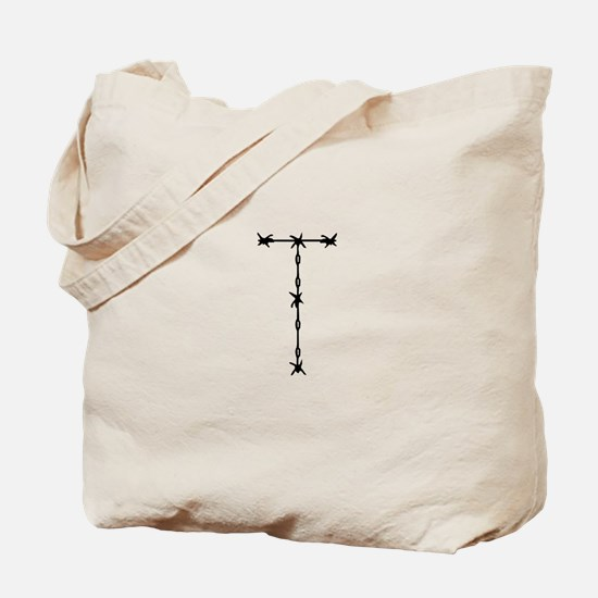 Barbed Wire Monogram T Tote Bag