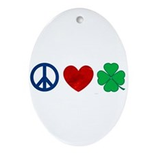 Peace Love Shamrock Ornament (Oval)