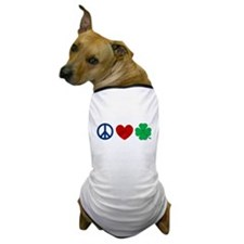 Peace Love Shamrock Dog T-Shirt