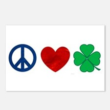 Peace Love Shamrock Postcards (Package of 8)