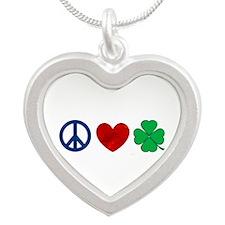 Peace Love Shamrock Silver Heart Necklace