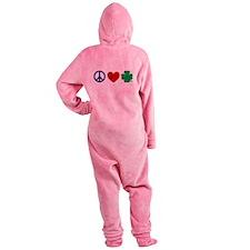 Peace Love Shamrock Footed Pajamas