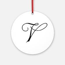 Champagne Monogram V Ornament (Round)