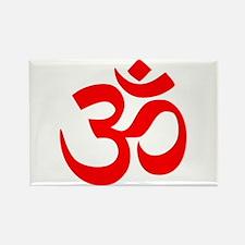 Red Om Rectangle Magnet (100 pack)