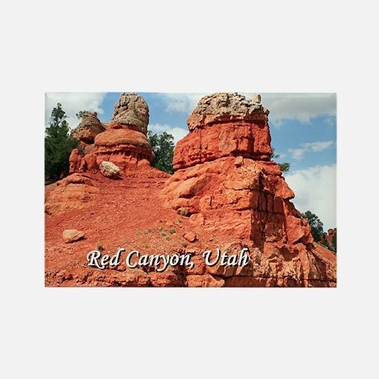 Red Canyon, Utah, USA (caption) Rectangle Magnet