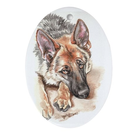 "German Shepherd ""Soulful"" Oval Ornament"