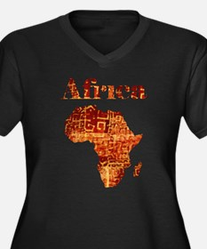 Ethnic Africa Women's Plus Size V-Neck Dark T-Shir