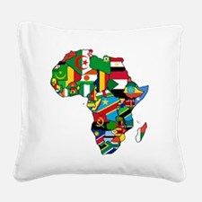 Flag Map of Africa Square Canvas Pillow