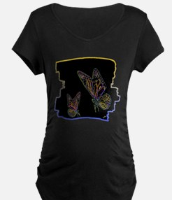 two neon butterlfies art illustration Maternity T-